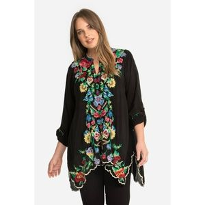 Johnny Was Gala Floral Embroidered Boho Tunic